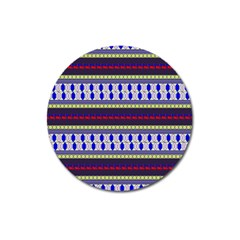 Colorful Retro Geometric Pattern Magnet 3  (round)