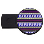 Colorful Retro Geometric Pattern USB Flash Drive Round (1 GB)  Front