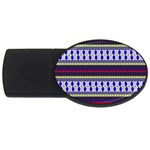Colorful Retro Geometric Pattern USB Flash Drive Oval (1 GB)  Front