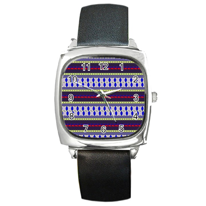 Colorful Retro Geometric Pattern Square Metal Watch