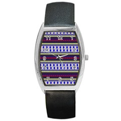 Colorful Retro Geometric Pattern Barrel Style Metal Watch