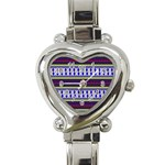 Colorful Retro Geometric Pattern Heart Italian Charm Watch Front