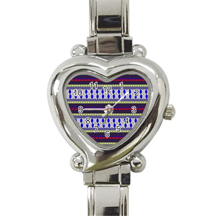 Colorful Retro Geometric Pattern Heart Italian Charm Watch