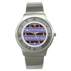 Colorful Retro Geometric Pattern Stainless Steel Watch