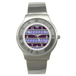 Colorful Retro Geometric Pattern Stainless Steel Watch Front