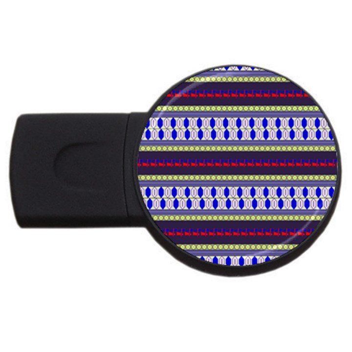 Colorful Retro Geometric Pattern USB Flash Drive Round (4 GB)