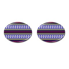 Colorful Retro Geometric Pattern Cufflinks (oval)