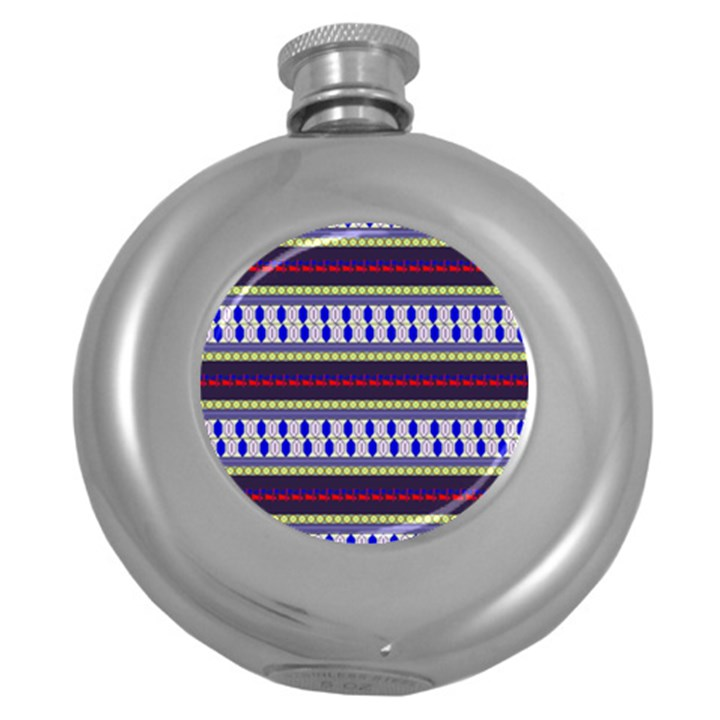 Colorful Retro Geometric Pattern Round Hip Flask (5 oz)