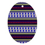 Colorful Retro Geometric Pattern Oval Ornament (Two Sides) Front
