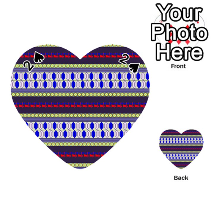 Colorful Retro Geometric Pattern Playing Cards 54 (Heart)