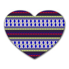 Colorful Retro Geometric Pattern Heart Mousepads