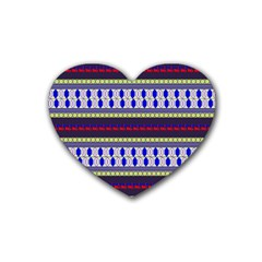 Colorful Retro Geometric Pattern Rubber Coaster (Heart)