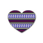 Colorful Retro Geometric Pattern Heart Coaster (4 pack)  Front