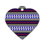 Colorful Retro Geometric Pattern Dog Tag Heart (Two Sides) Front