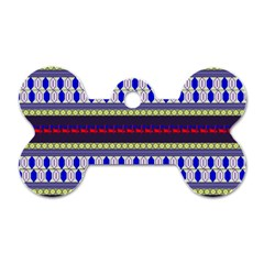Colorful Retro Geometric Pattern Dog Tag Bone (One Side)