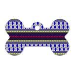 Colorful Retro Geometric Pattern Dog Tag Bone (One Side) Front
