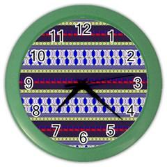 Colorful Retro Geometric Pattern Color Wall Clocks
