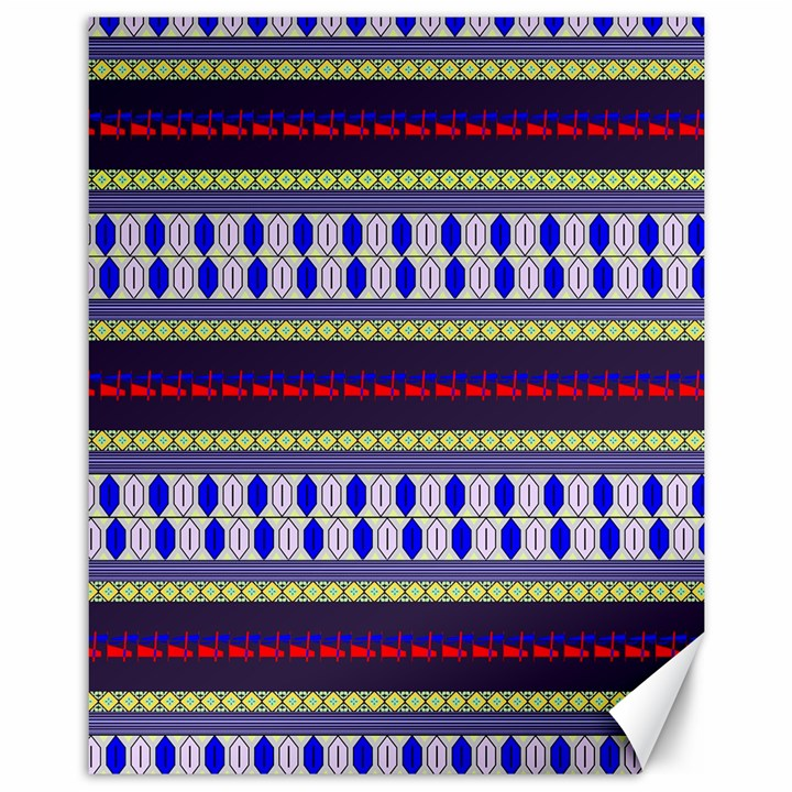 Colorful Retro Geometric Pattern Canvas 11  x 14