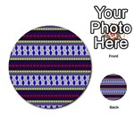Colorful Retro Geometric Pattern Multi-purpose Cards (Round)  Back 30