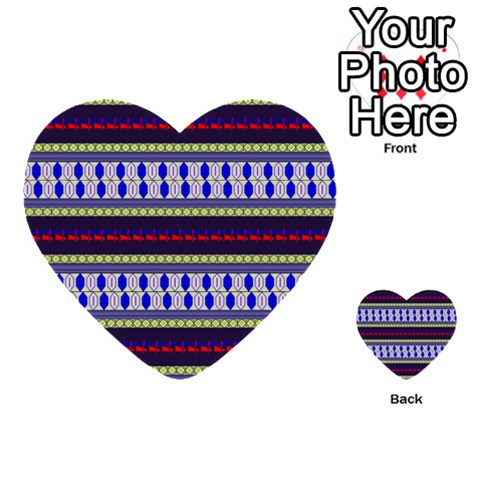 Colorful Retro Geometric Pattern Multi-purpose Cards (Heart)