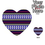 Colorful Retro Geometric Pattern Multi-purpose Cards (Heart)  Back 12