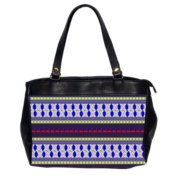Colorful Retro Geometric Pattern Office Handbags (2 Sides)