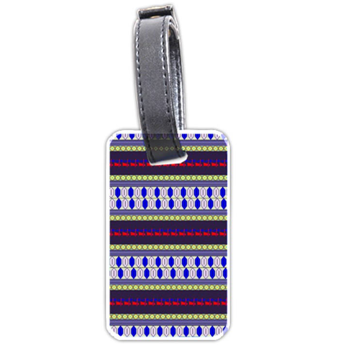 Colorful Retro Geometric Pattern Luggage Tags (Two Sides)