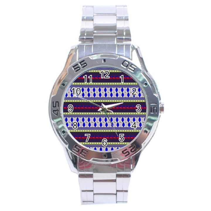 Colorful Retro Geometric Pattern Stainless Steel Analogue Watch