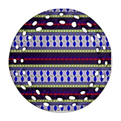 Colorful Retro Geometric Pattern Round Filigree Ornament (2Side)