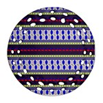 Colorful Retro Geometric Pattern Round Filigree Ornament (2Side) Front
