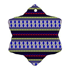 Colorful Retro Geometric Pattern Snowflake Ornament (2 Side)