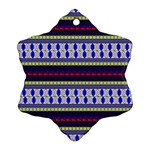 Colorful Retro Geometric Pattern Snowflake Ornament (2-Side) Front