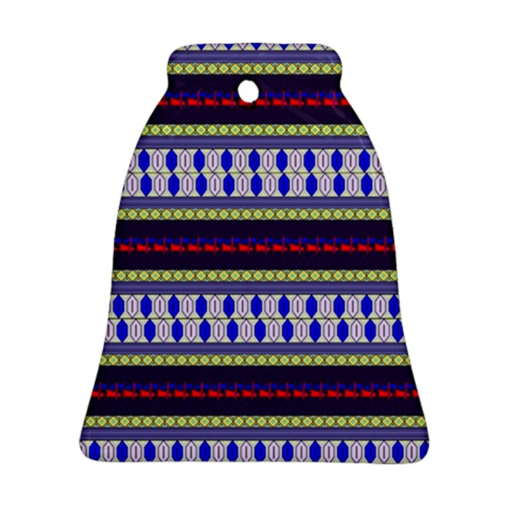 Colorful Retro Geometric Pattern Bell Ornament (2 Sides)