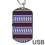 Colorful Retro Geometric Pattern Dog Tag USB Flash (One Side) Front