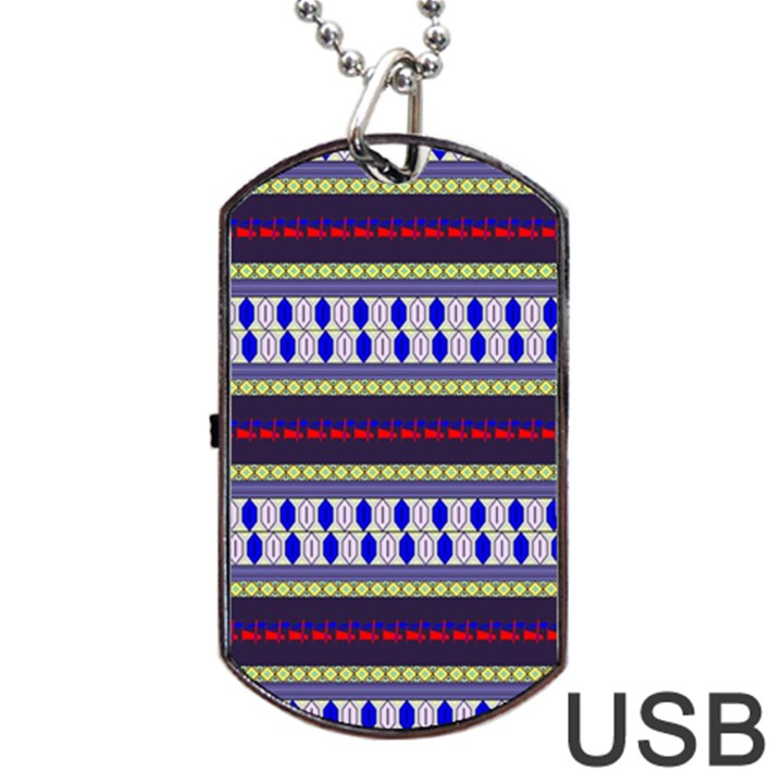 Colorful Retro Geometric Pattern Dog Tag USB Flash (Two Sides)