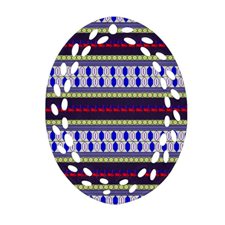 Colorful Retro Geometric Pattern Oval Filigree Ornament (2-Side)