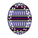 Colorful Retro Geometric Pattern Oval Filigree Ornament (2-Side)  Back