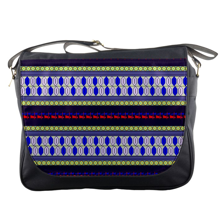 Colorful Retro Geometric Pattern Messenger Bags