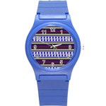 Colorful Retro Geometric Pattern Round Plastic Sport Watch (S) Front