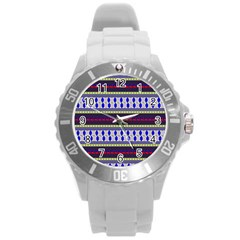 Colorful Retro Geometric Pattern Round Plastic Sport Watch (L)
