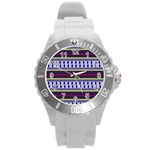 Colorful Retro Geometric Pattern Round Plastic Sport Watch (L) Front