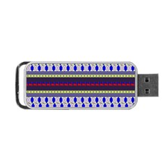 Colorful Retro Geometric Pattern Portable USB Flash (One Side)