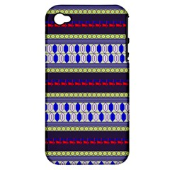 Colorful Retro Geometric Pattern Apple iPhone 4/4S Hardshell Case (PC+Silicone)