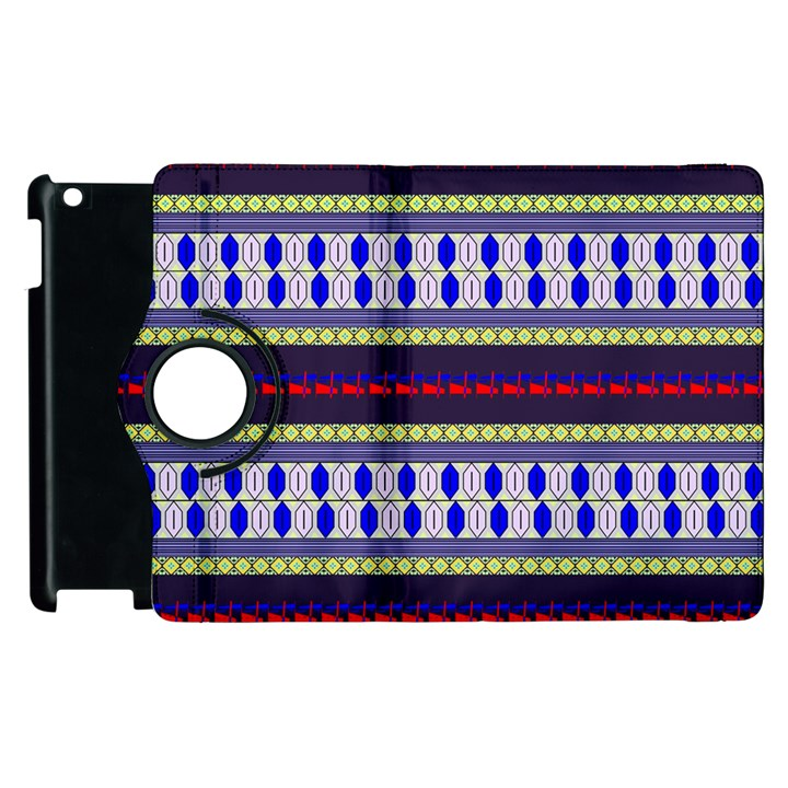Colorful Retro Geometric Pattern Apple iPad 3/4 Flip 360 Case