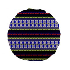 Colorful Retro Geometric Pattern Standard 15  Premium Round Cushions
