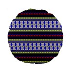 Colorful Retro Geometric Pattern Standard 15  Premium Round Cushions Back