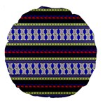 Colorful Retro Geometric Pattern Large 18  Premium Round Cushions Back