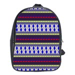Colorful Retro Geometric Pattern School Bags (XL)  Front