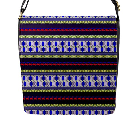 Colorful Retro Geometric Pattern Flap Messenger Bag (L)