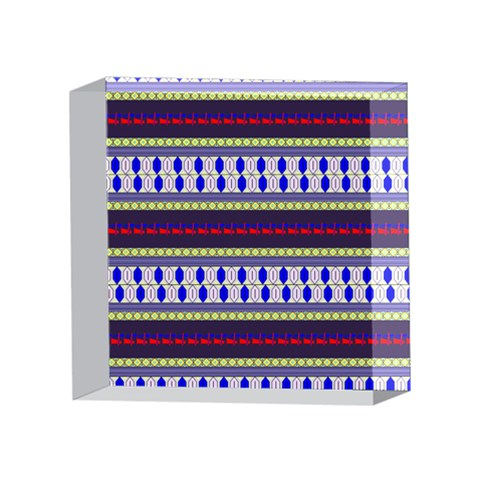 Colorful Retro Geometric Pattern 4 x 4  Acrylic Photo Blocks